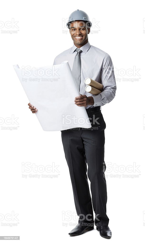 Businessman Reading Blueprints royalty-free stock photo