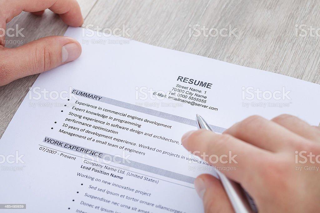 Businessman Reading Resume stock photo