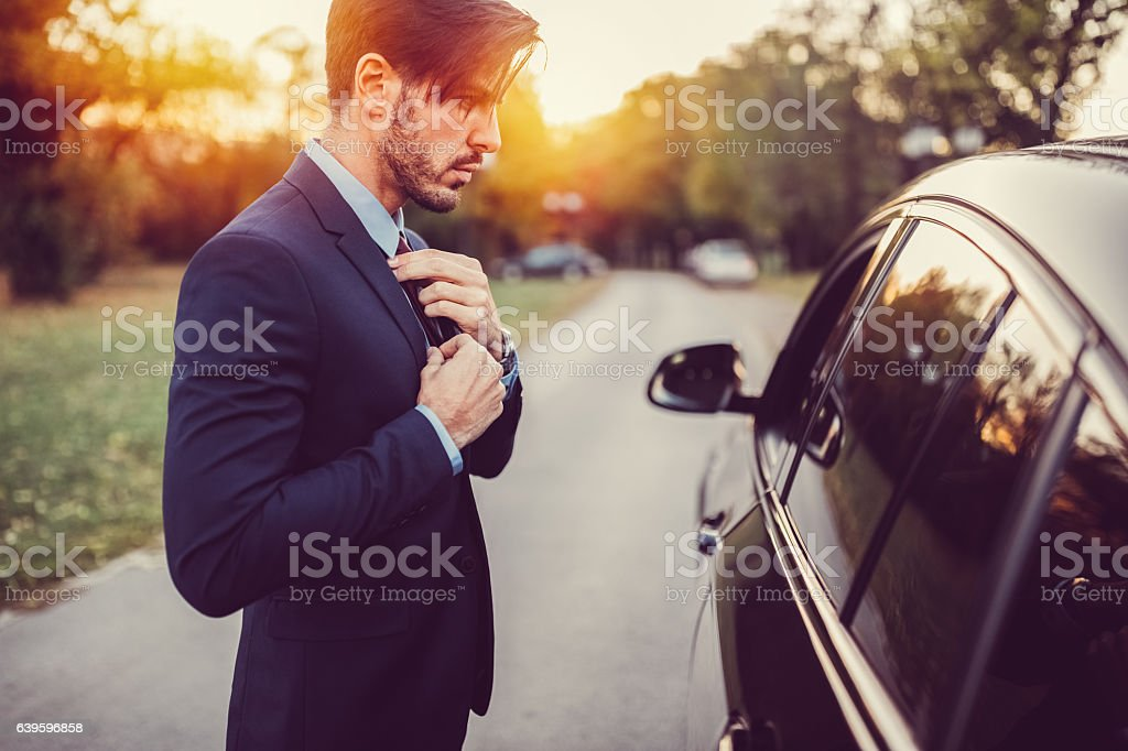 Businessman ready for work stock photo