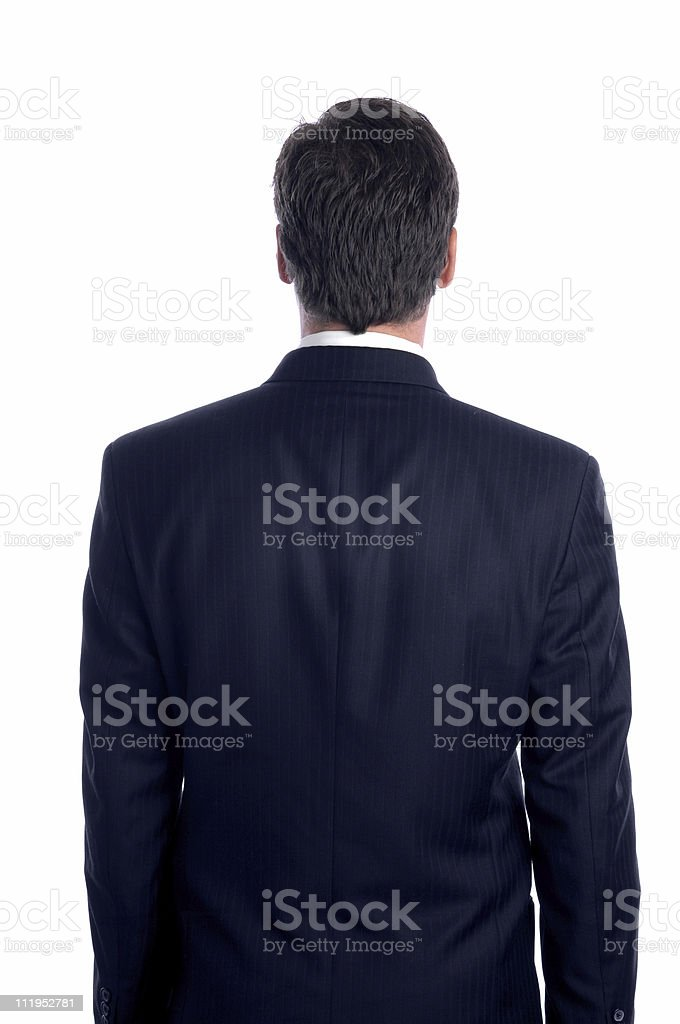 Businessman Rear View Isolated on White Background royalty-free stock photo