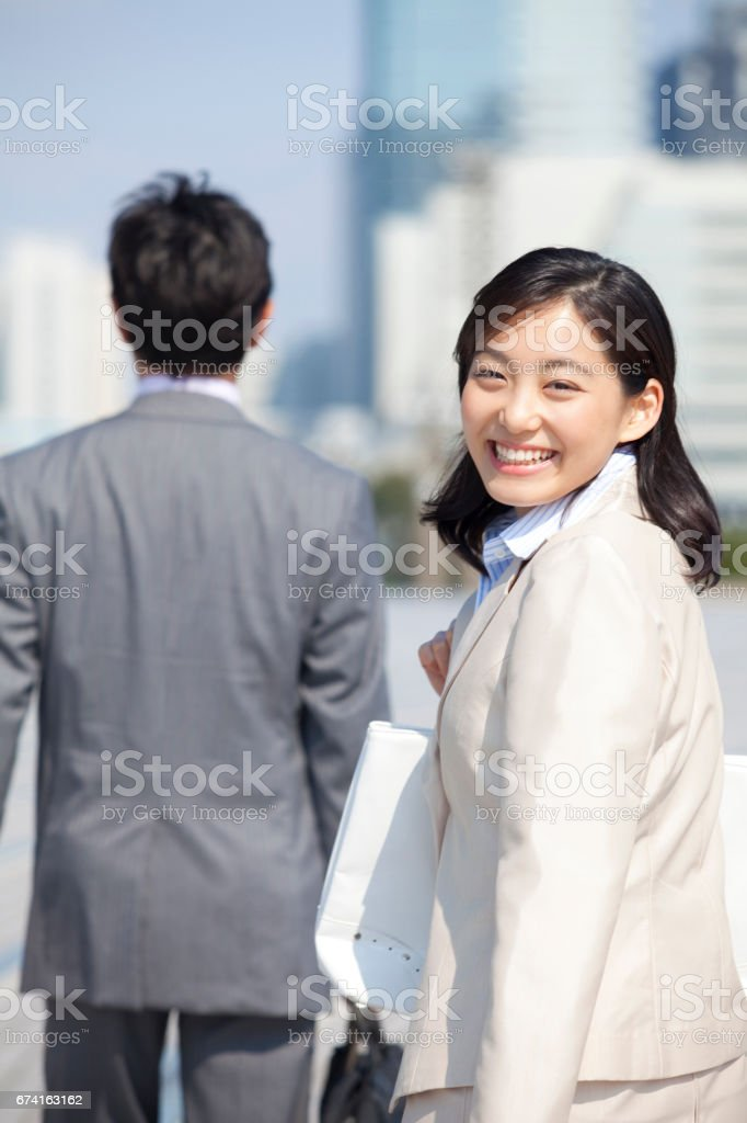 Businessman recalls with OL stock photo