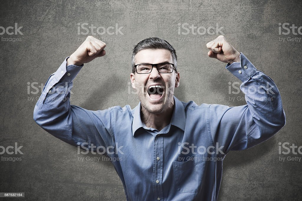 Businessman receiving good news stock photo