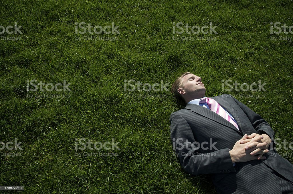 Businessman Reclines on Dark Grass royalty-free stock photo