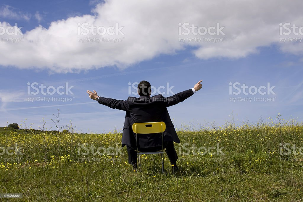 Businessman relaxing in the field royalty-free stock photo
