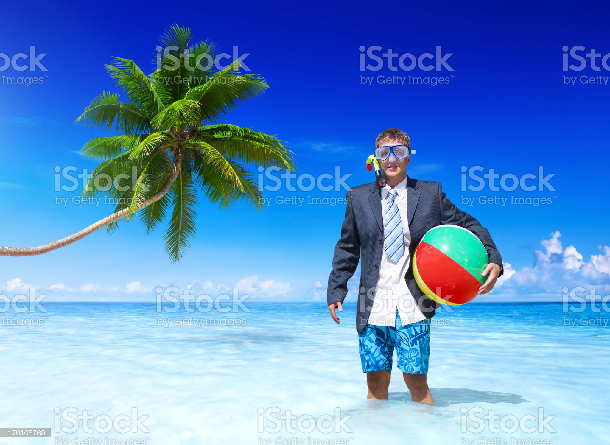 Businessman relaxing on vacation royalty-free stock photo