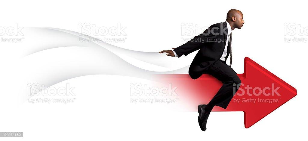 Businessman Riding Red Arrow royalty-free stock photo