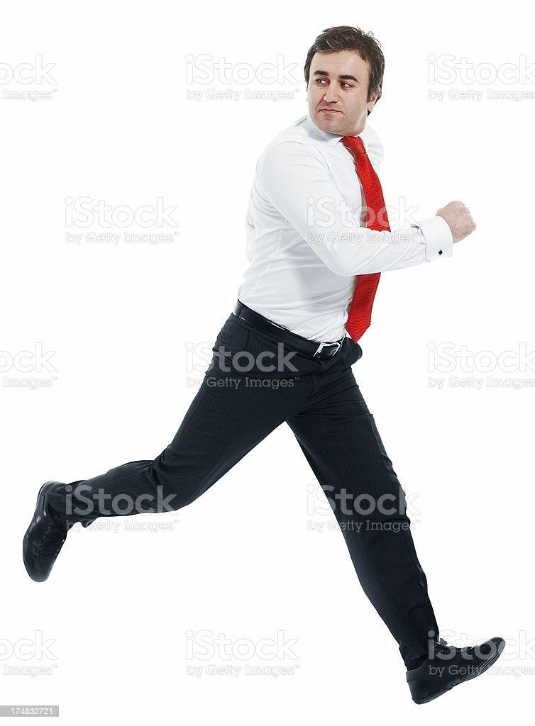 Businessman running fast royalty-free stock photo
