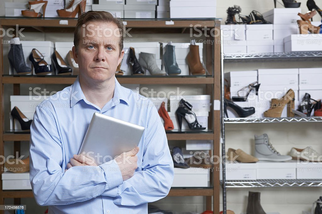 Businessman Running Online Shoe Store royalty-free stock photo