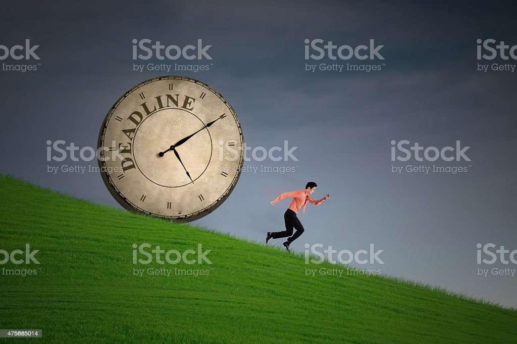 Businessman running out of deadline vector art illustration