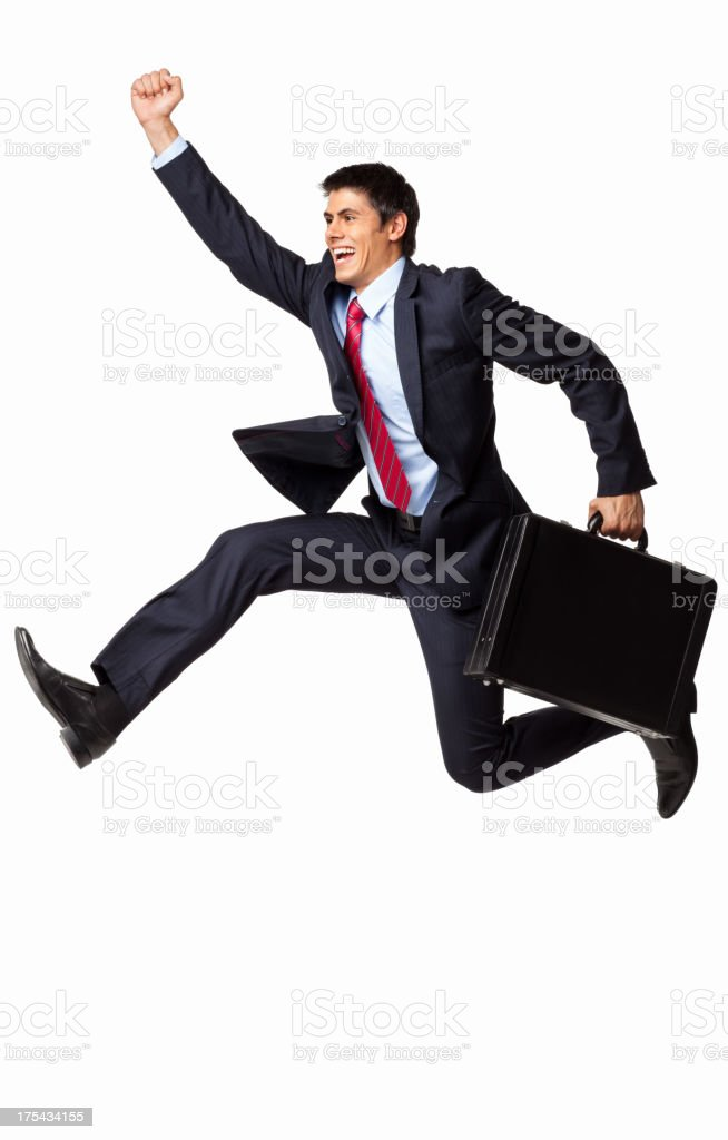 Businessman Running With a Briefcase - Isolated royalty-free stock photo