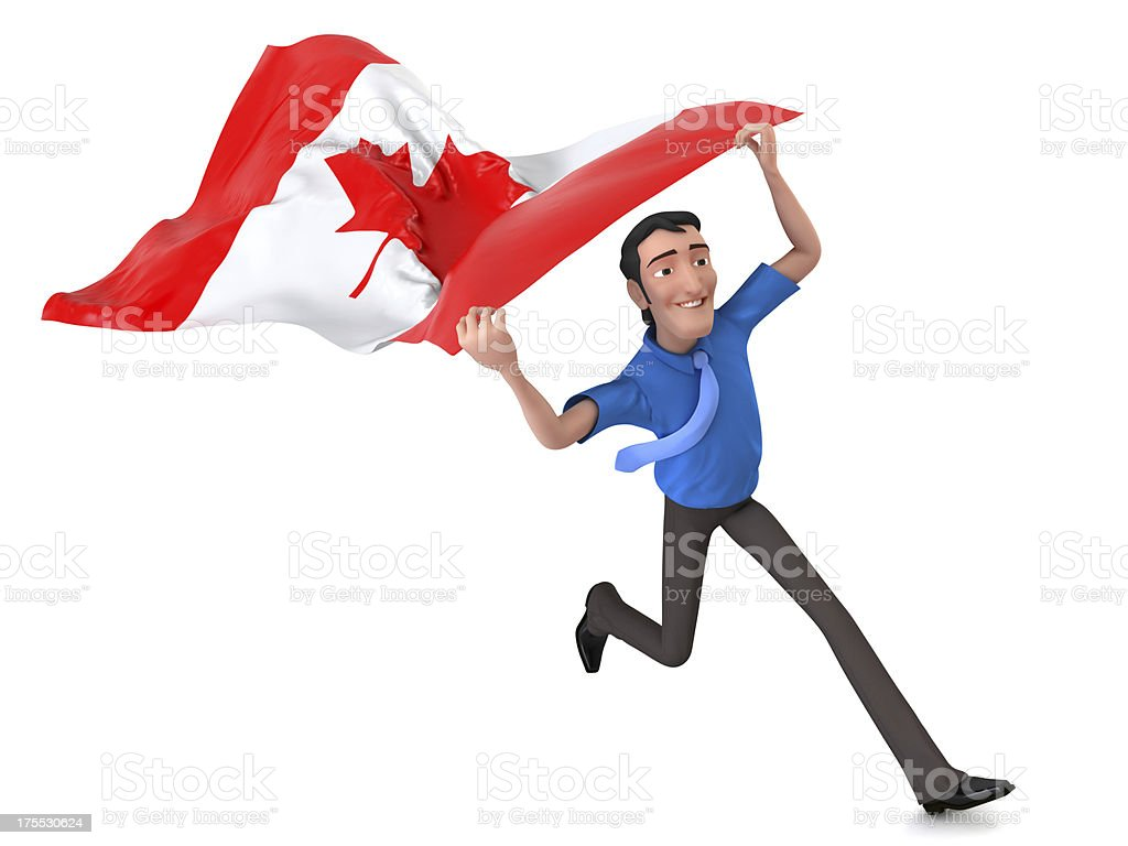 Businessman Running with Canadian Flag royalty-free stock photo