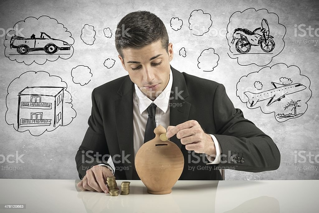 Businessman save money royalty-free stock photo