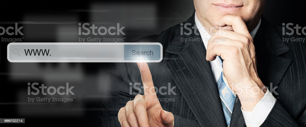 businessman searching a internet stock photo