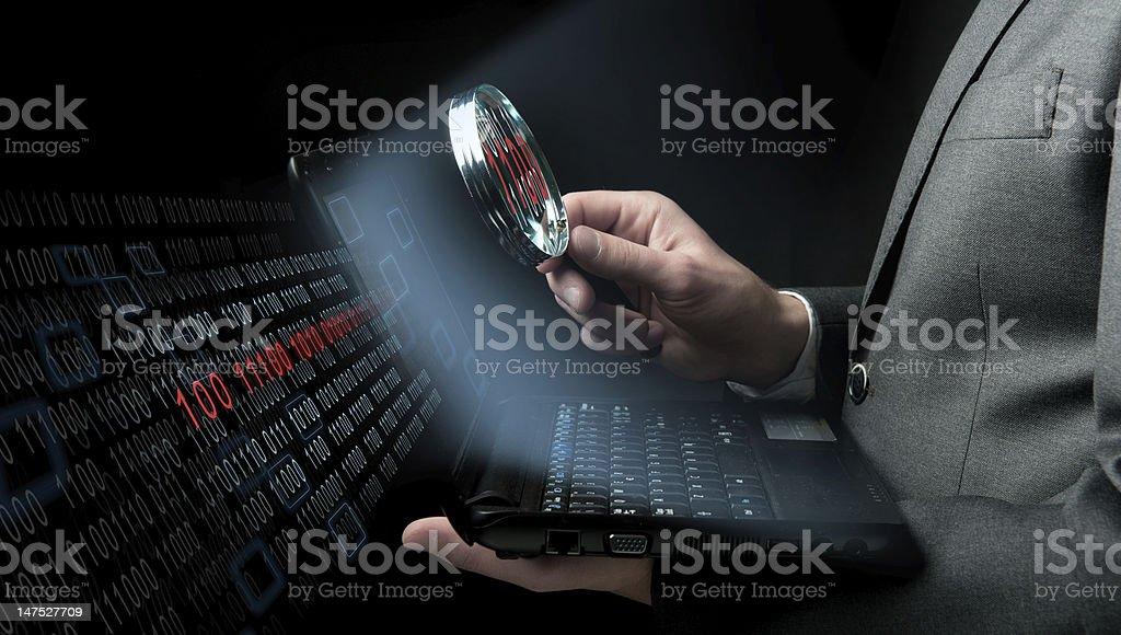 Businessman searching virus royalty-free stock photo