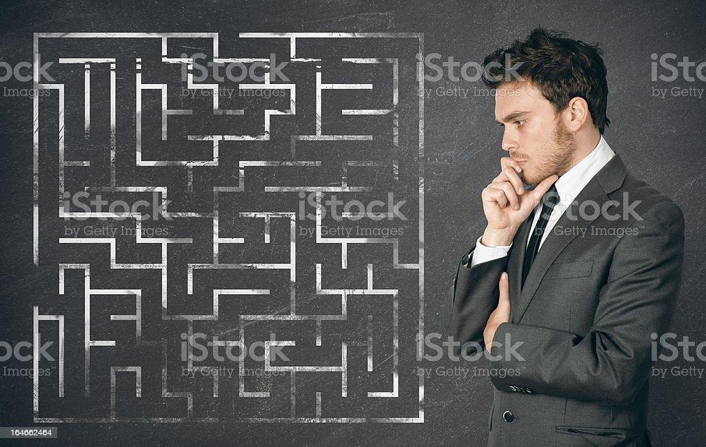 Businessman seek the solution stock photo