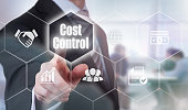 Businessman selecting a Cost Control Concept button