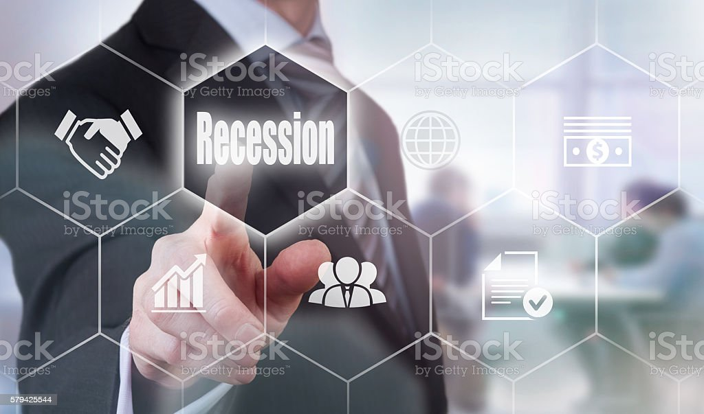Businessman selecting a Recession Support Concept button stock photo