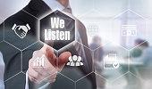 Businessman selecting a We Listen Concept button