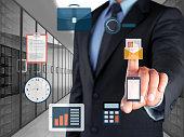 Businessman selecting e-mail marketing button on virtual screen