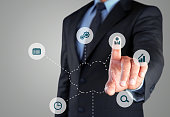 Businessman selecting outsource button on virtual screen