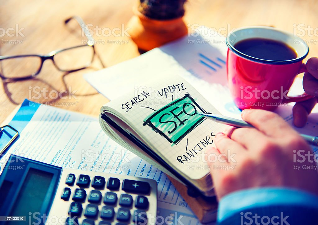 Businessman SEO Marketing Internet Concept stock photo