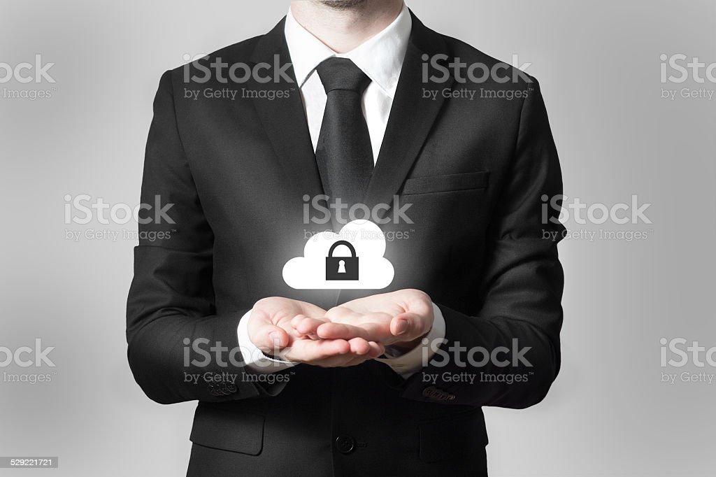 businessman serving gesture cloud security symbol stock photo