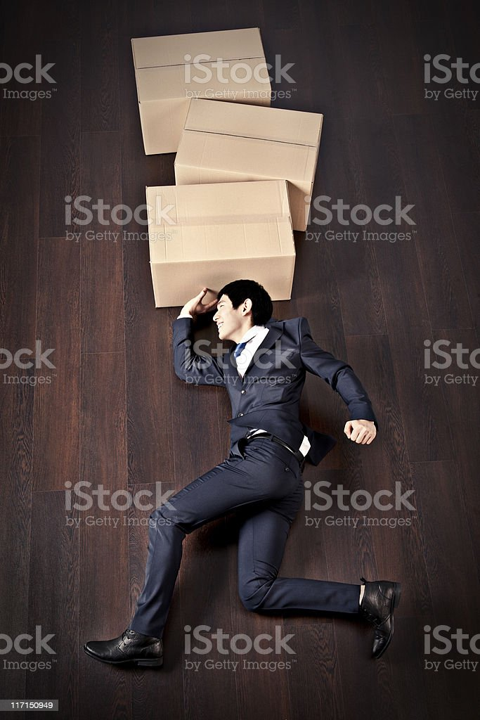 Businessman Shipping Boxes royalty-free stock photo