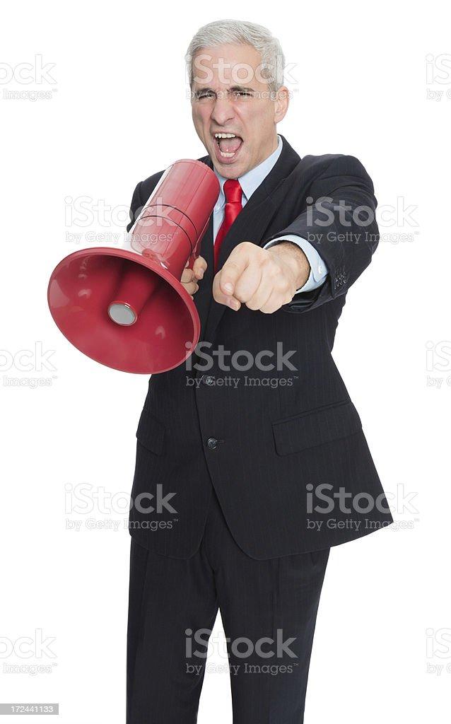 Businessman Shouting Through Megaphone royalty-free stock photo