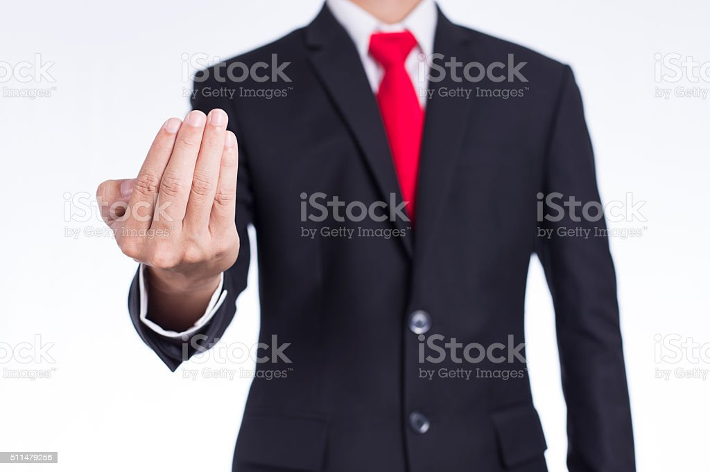 Businessman Show Hand Inviting Symbol stock photo