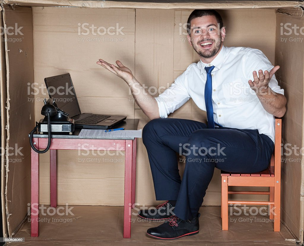 businessman show his new office stock photo