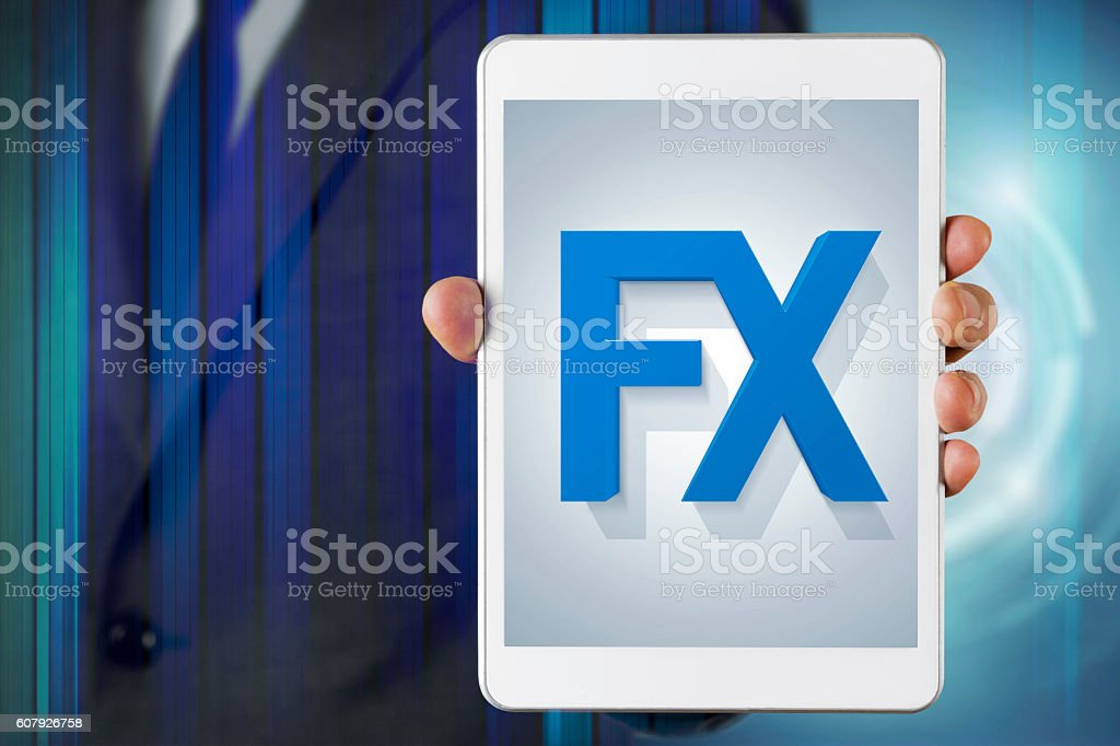 Businessman show screen about Forex stock photo