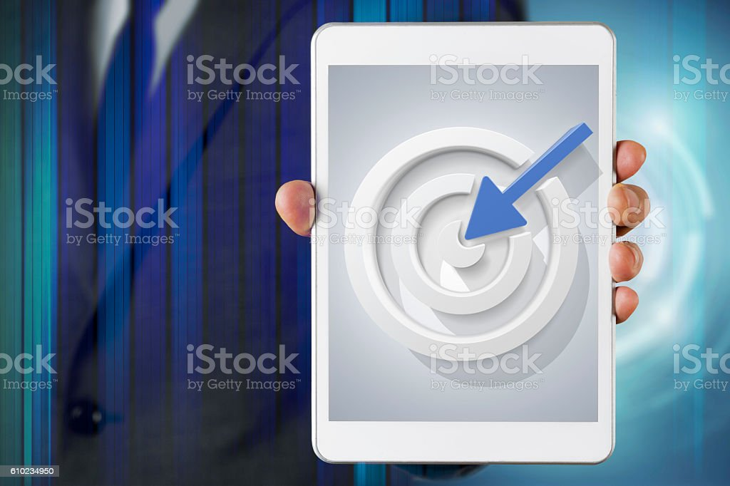 Businessman show screen about Target stock photo