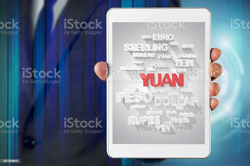 Businessman show screen about Yuan currency stock photo