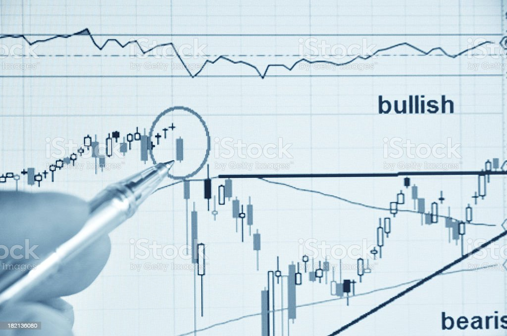 Businessman show stock market trend stock photo