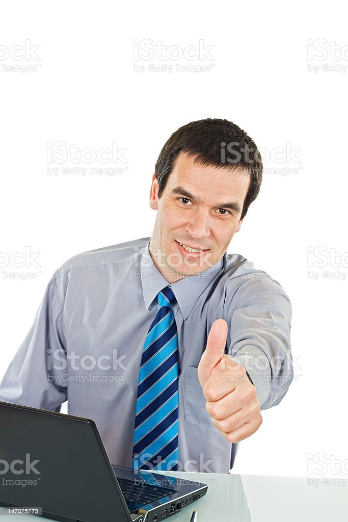 Businessman show thumb up sign royalty-free stock photo