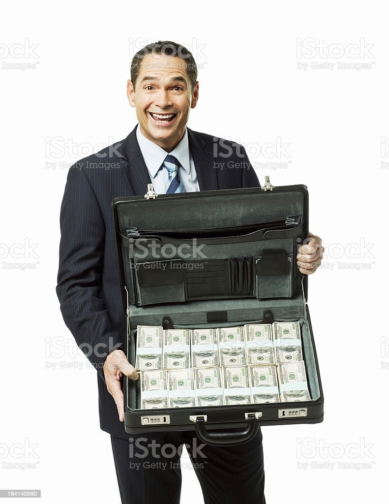 Businessman Showing a Briefcase Full of Money - Isolated royalty-free stock photo