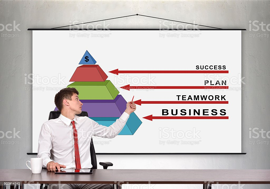 businessman showing a business pyramid stock photo
