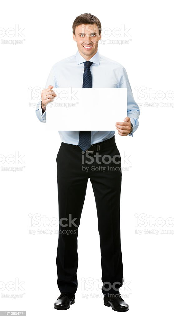 Businessman showing blank signboard, isolated royalty-free stock photo