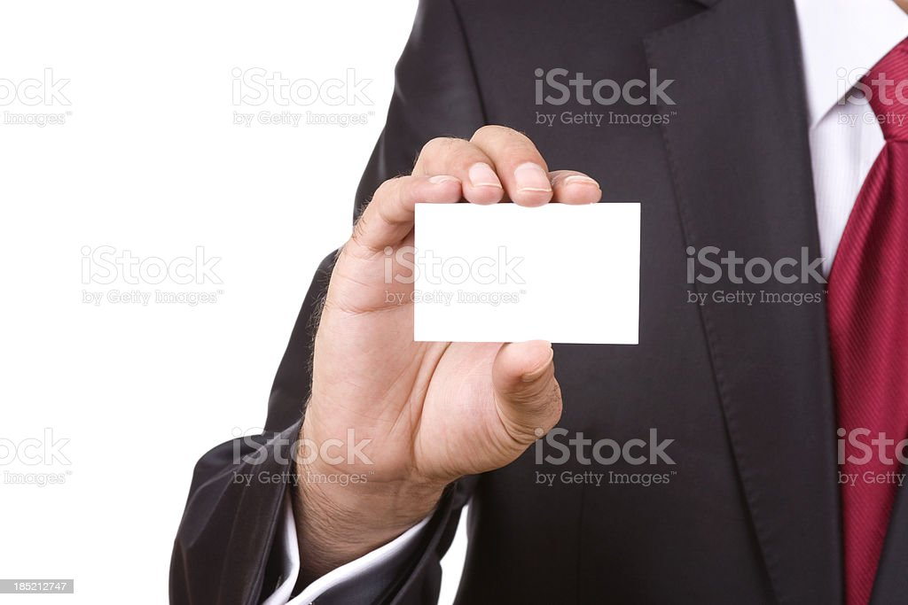 Businessman showing business card royalty-free stock photo