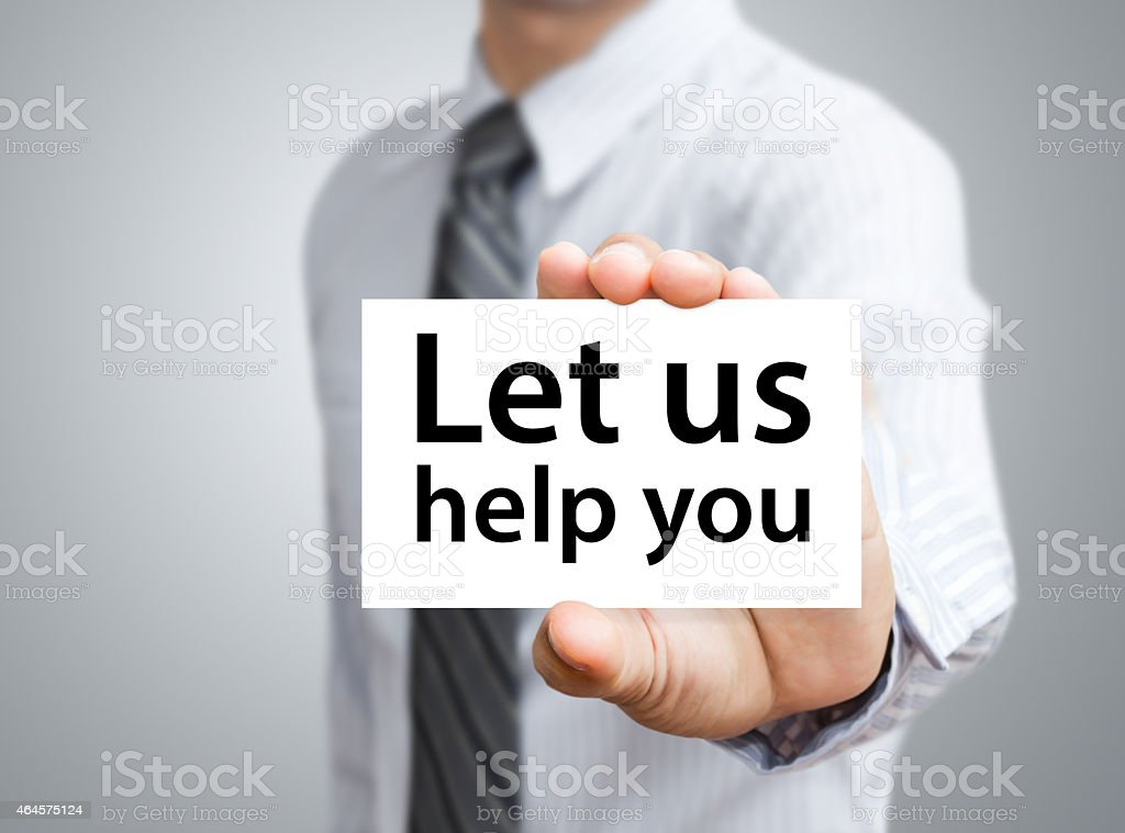 Businessman showing card with Let us help you text stock photo