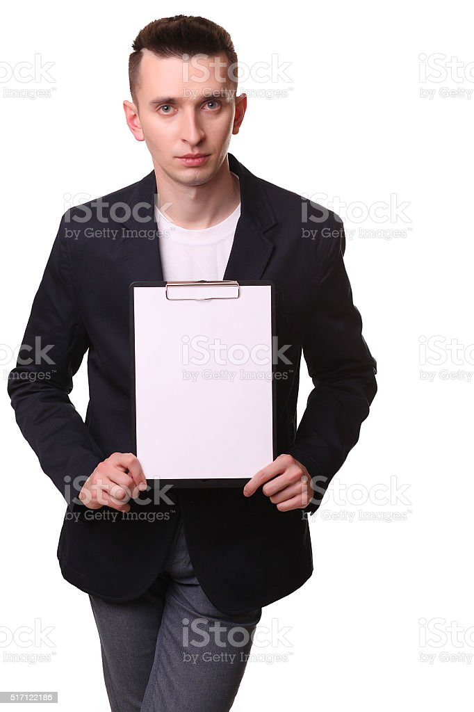 Businessman showing clipboard, isolated against white background royalty-free stock photo