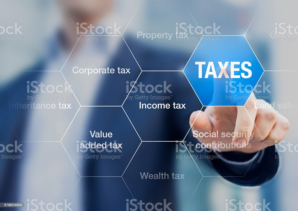 Businessman showing concept of taxes paid by individuals and corporations stock photo