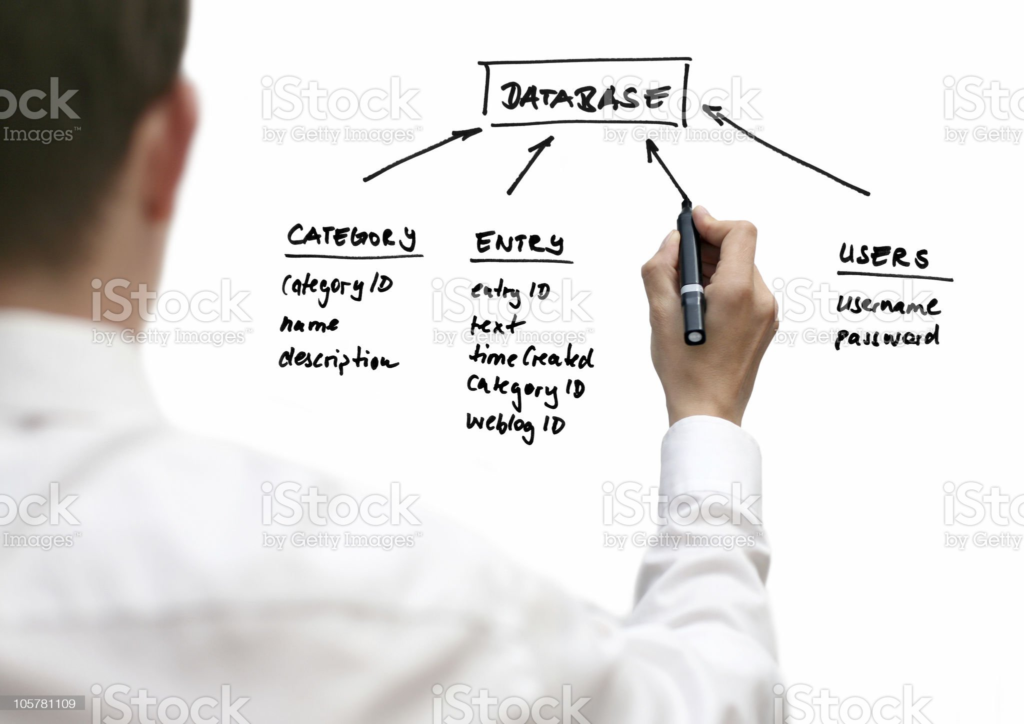 Businessman showing database structure royalty-free stock photo