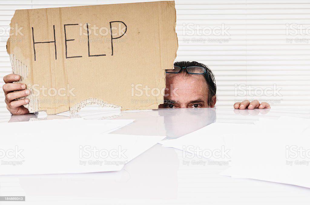 Businessman Showing Help Sign,Copy Space. royalty-free stock photo