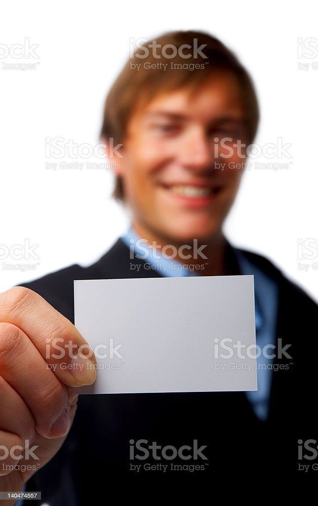 Businessman showing his business card royalty-free stock photo