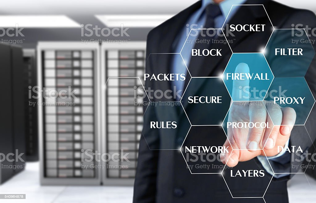 Businessman showing internet security word cloud stock photo