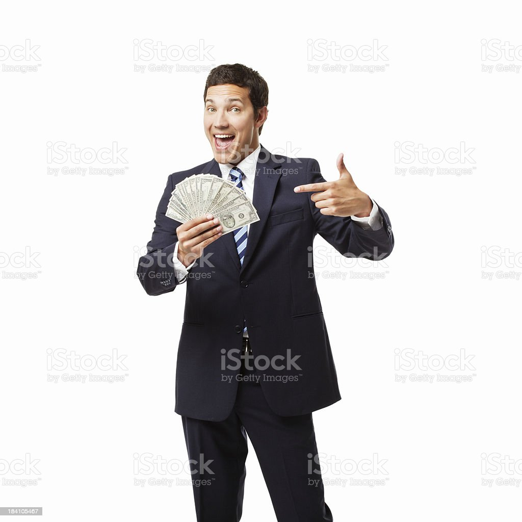 Businessman Showing Off Money - Isolated royalty-free stock photo