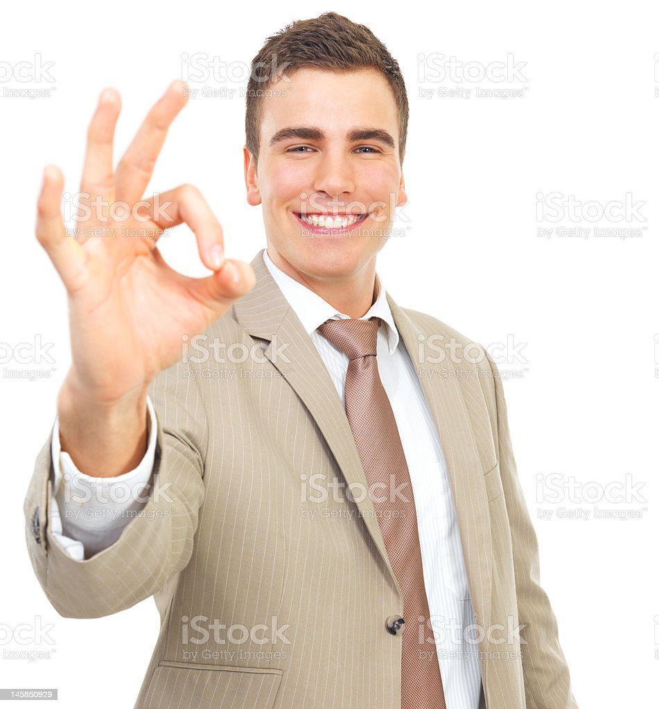 Businessman showing OK sign royalty-free stock photo