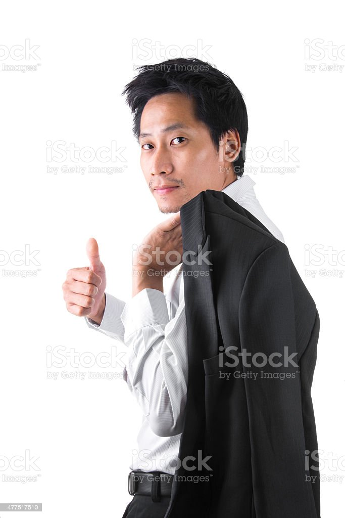 Businessman Showing OK Sign With His Thumb Up royalty-free stock photo