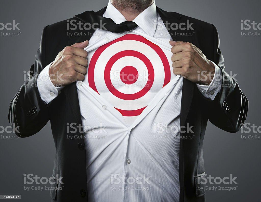 Businessman showing target symbol stock photo